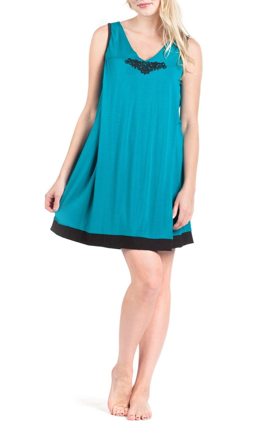 Sleeveless Maternity/Nursing Nightgown,                         Main,                         color, Black/ Jade Contrast