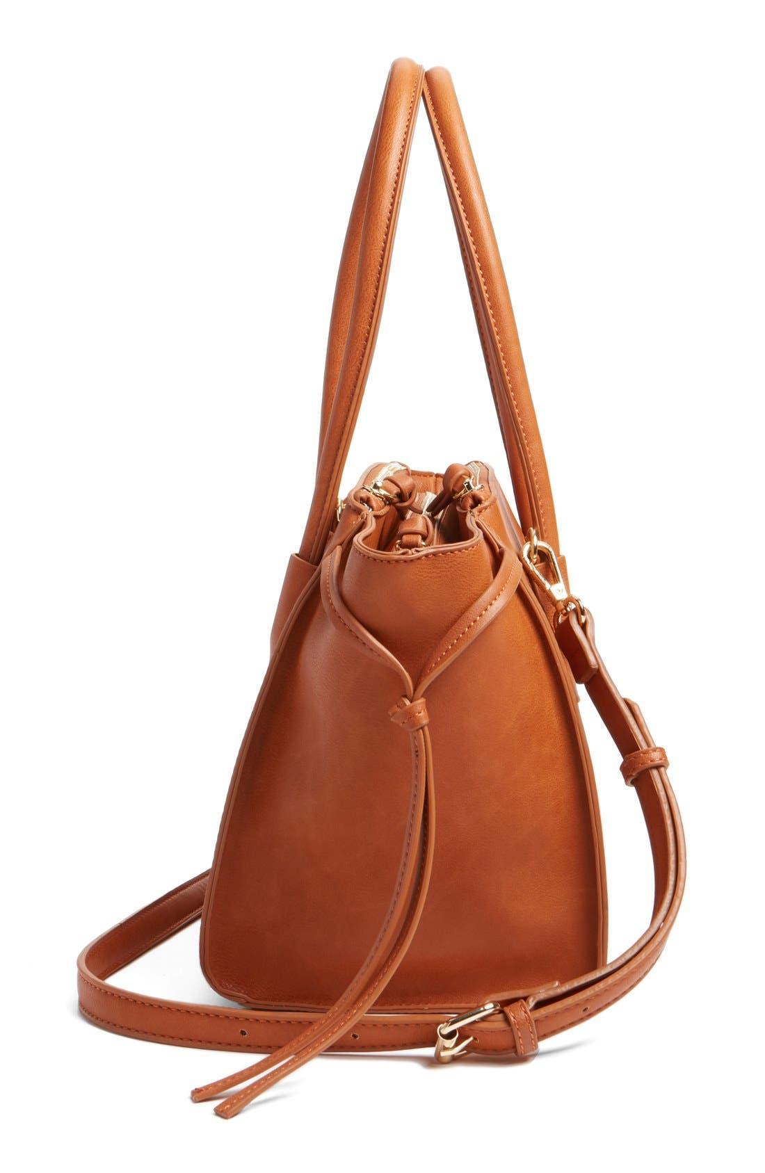 'Farris' Faux Leather Winged Satchel,                             Alternate thumbnail 5, color,                             Cognac