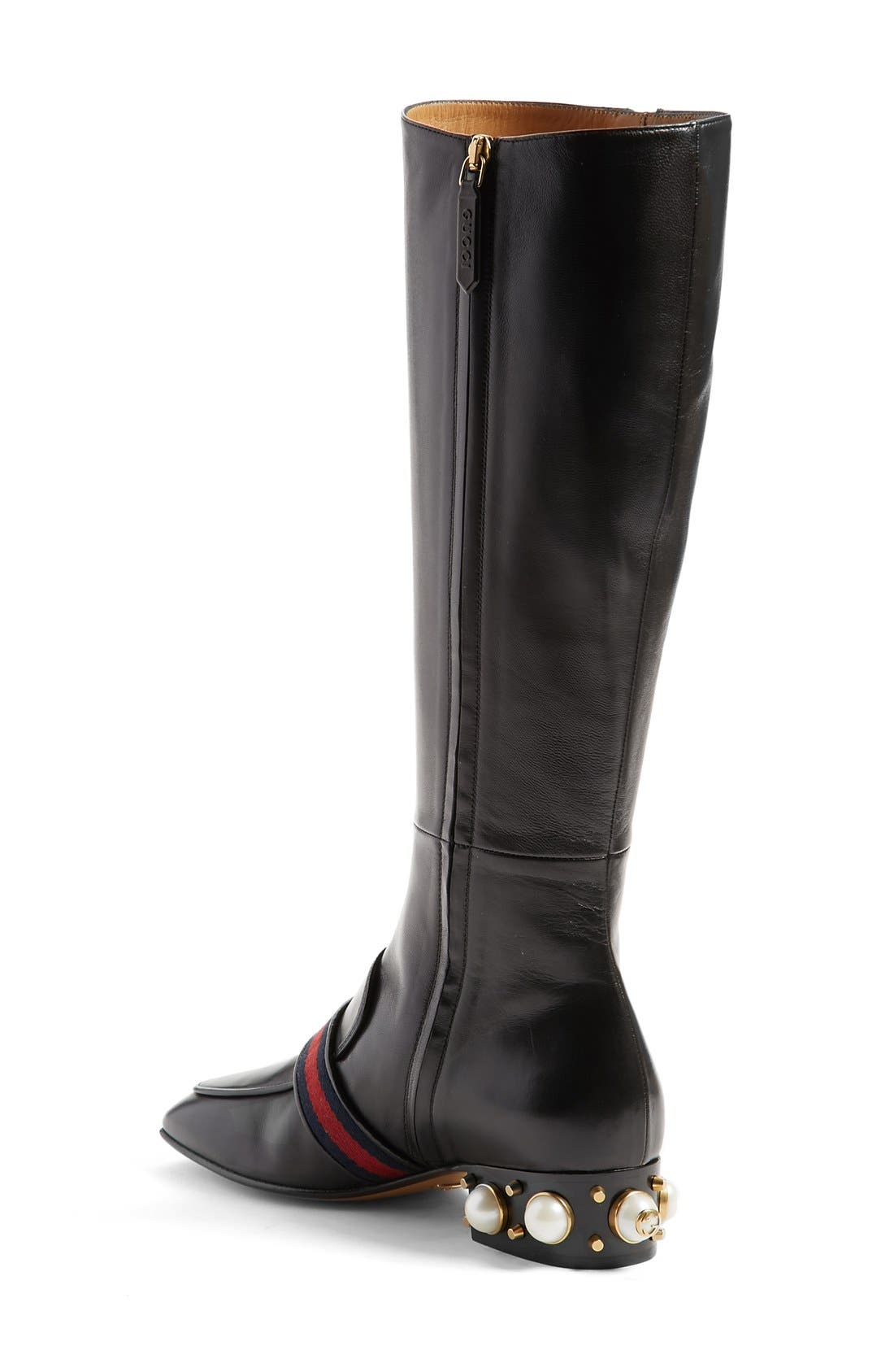 Embellished Riding Boot,                             Alternate thumbnail 2, color,                             Black