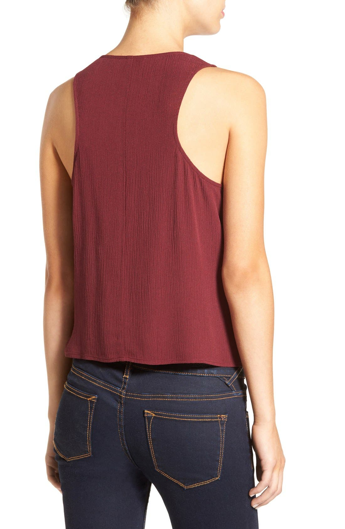 Cross Front Swing Tank,                             Alternate thumbnail 2, color,                             Burgundy