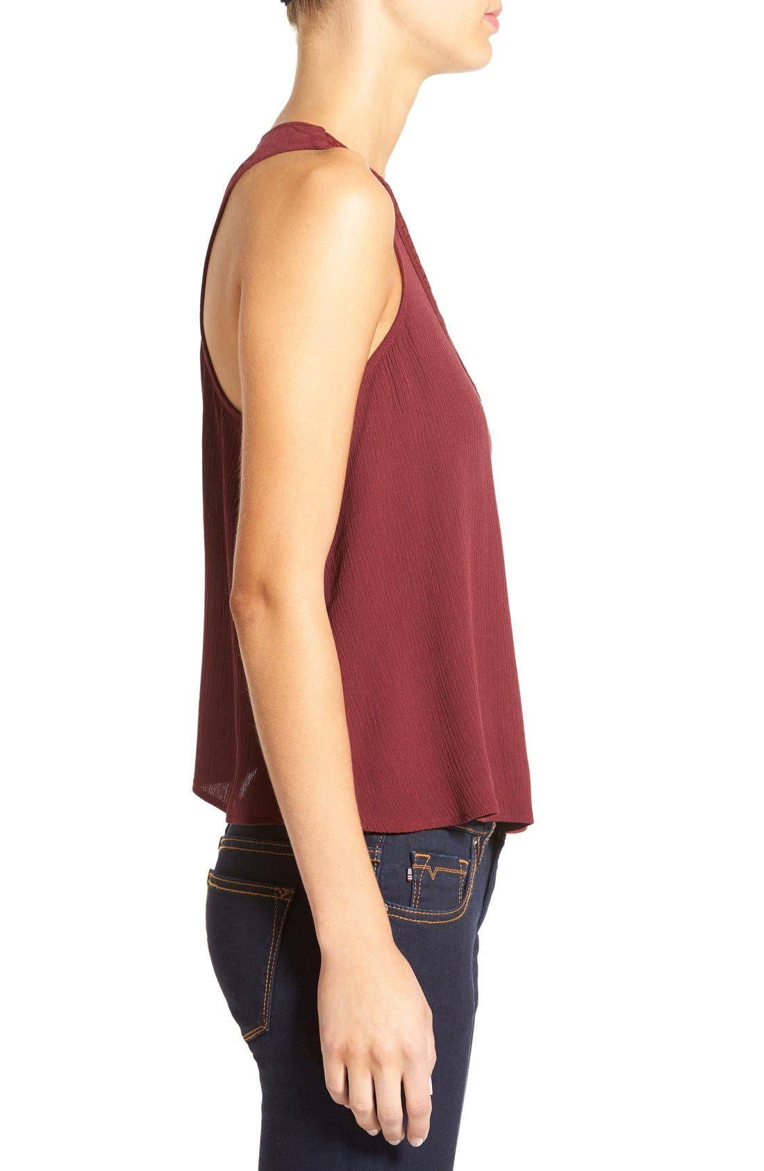 Cross Front Swing Tank,                             Alternate thumbnail 3, color,                             Burgundy