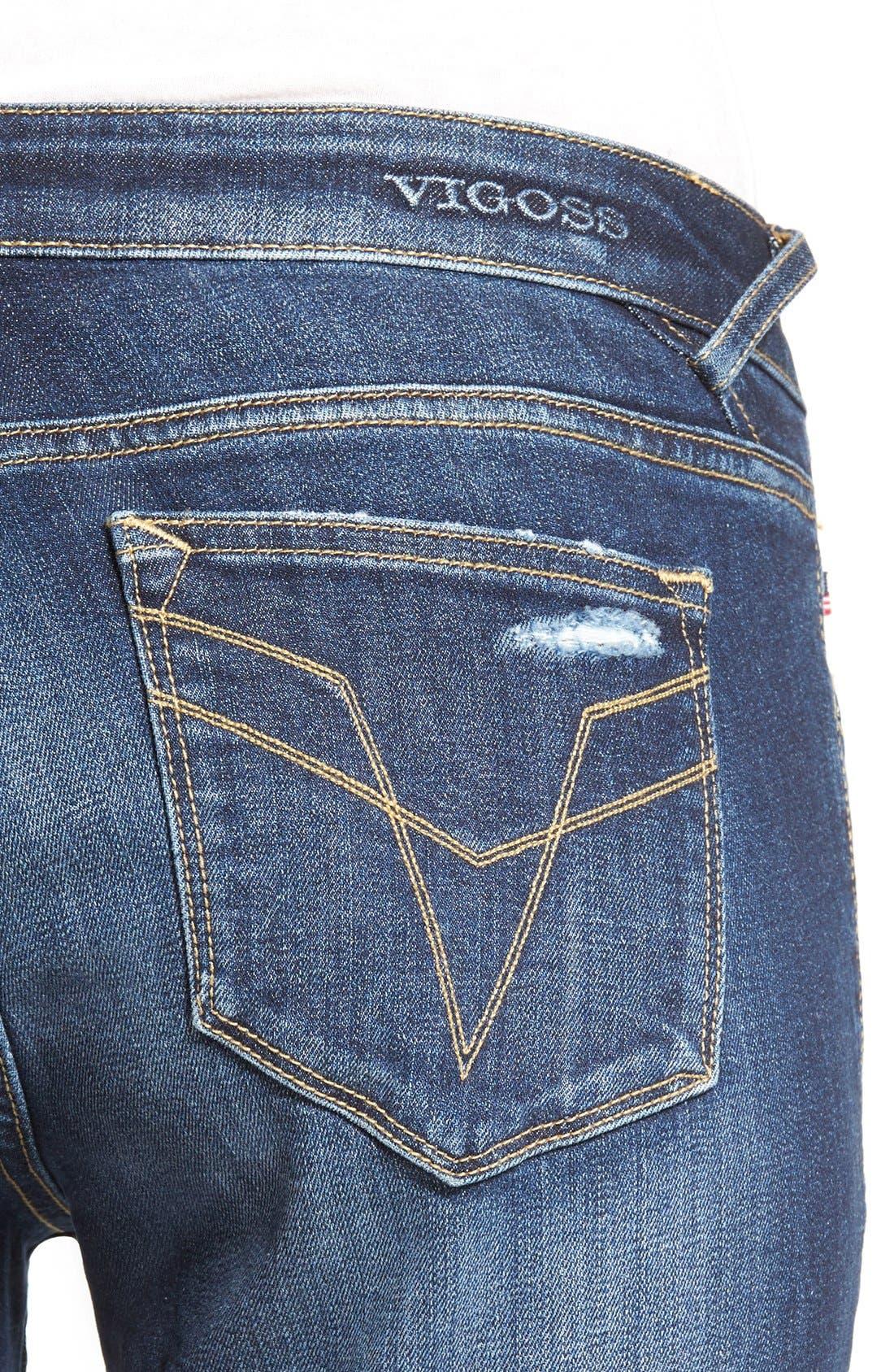 Alternate Image 4  - Vigoss 'Chelsea' Frayed Hem Skinny Jeans