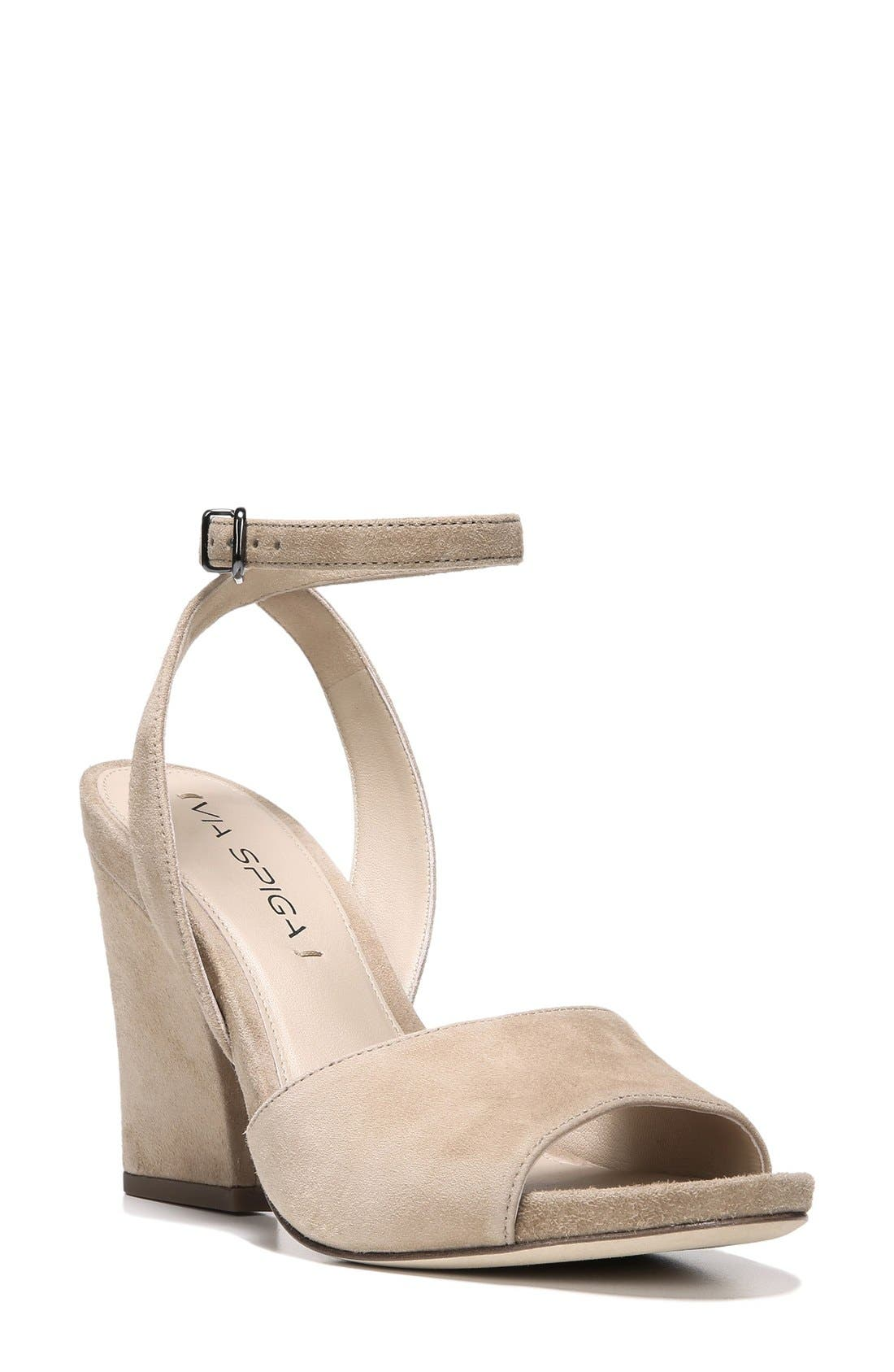 'Piper' Ankle Strap Sandal,                             Main thumbnail 1, color,                             Light Camel Suede