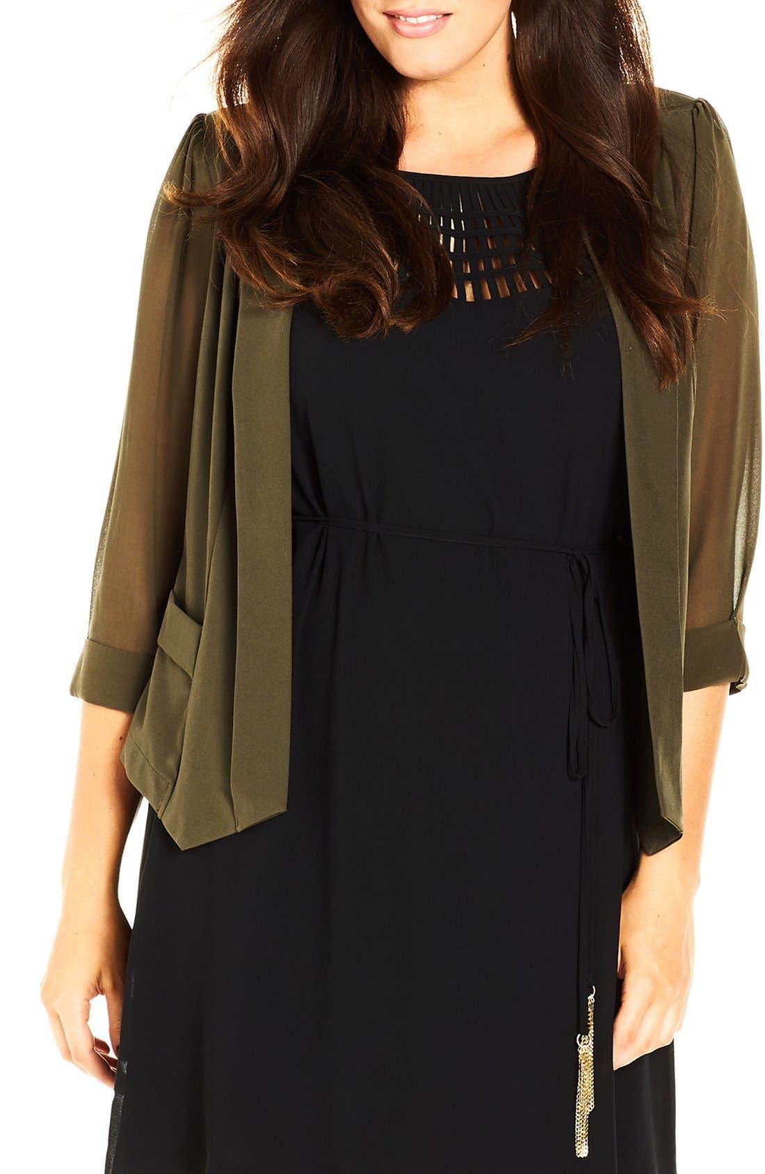 City Chic DrapeyMixed Media Blazer (Plus Size)