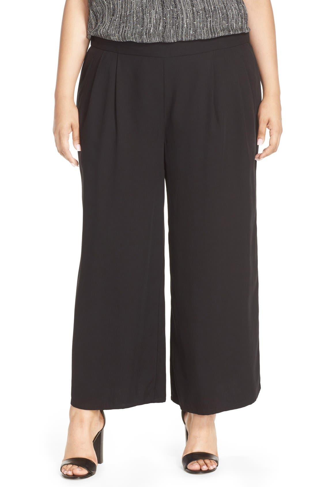 Alternate Image 1 Selected - Eileen Fisher Wide Leg Tencel® Pants (Plus Size)
