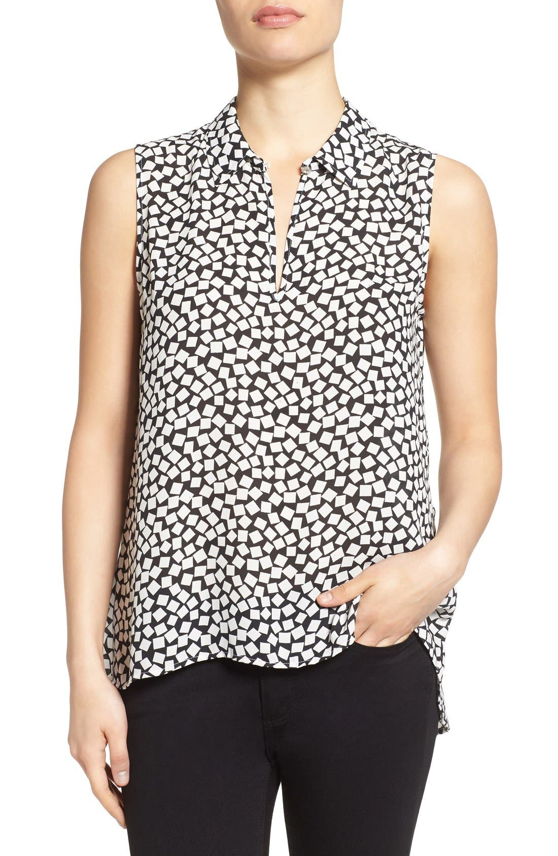 Main Image - Vince Camuto Print Collared Keyhole Neck Sleeveless Blouse