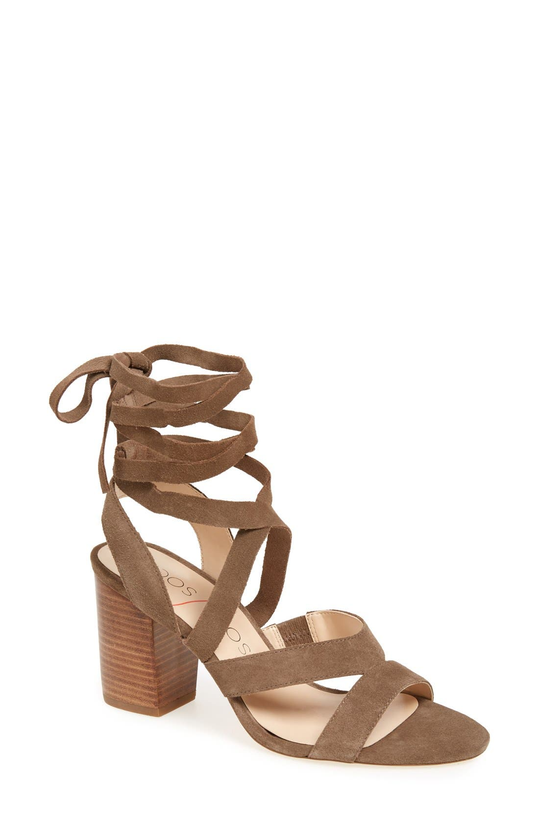 'Lyla' Lace-Up Sandal,                             Main thumbnail 1, color,                             Taupe