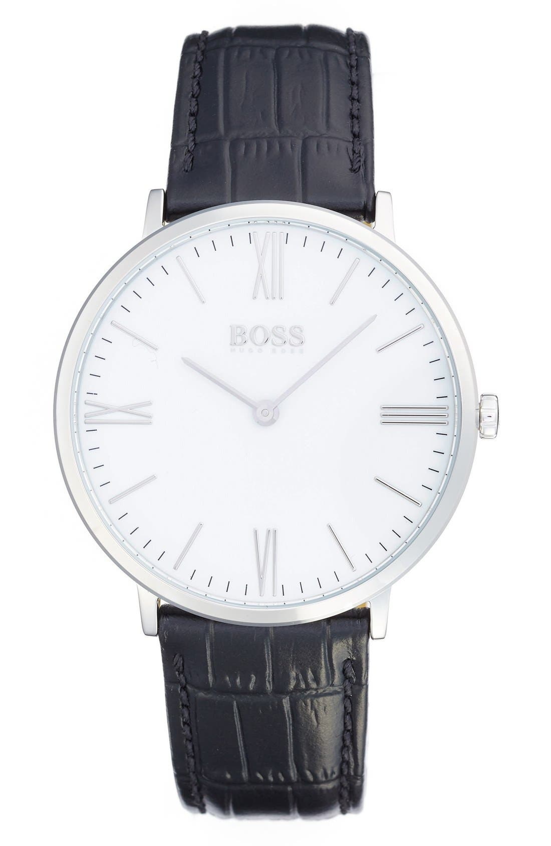 Ultra Slim Leather Strap Watch, 40mm,                         Main,                         color, Black/ White