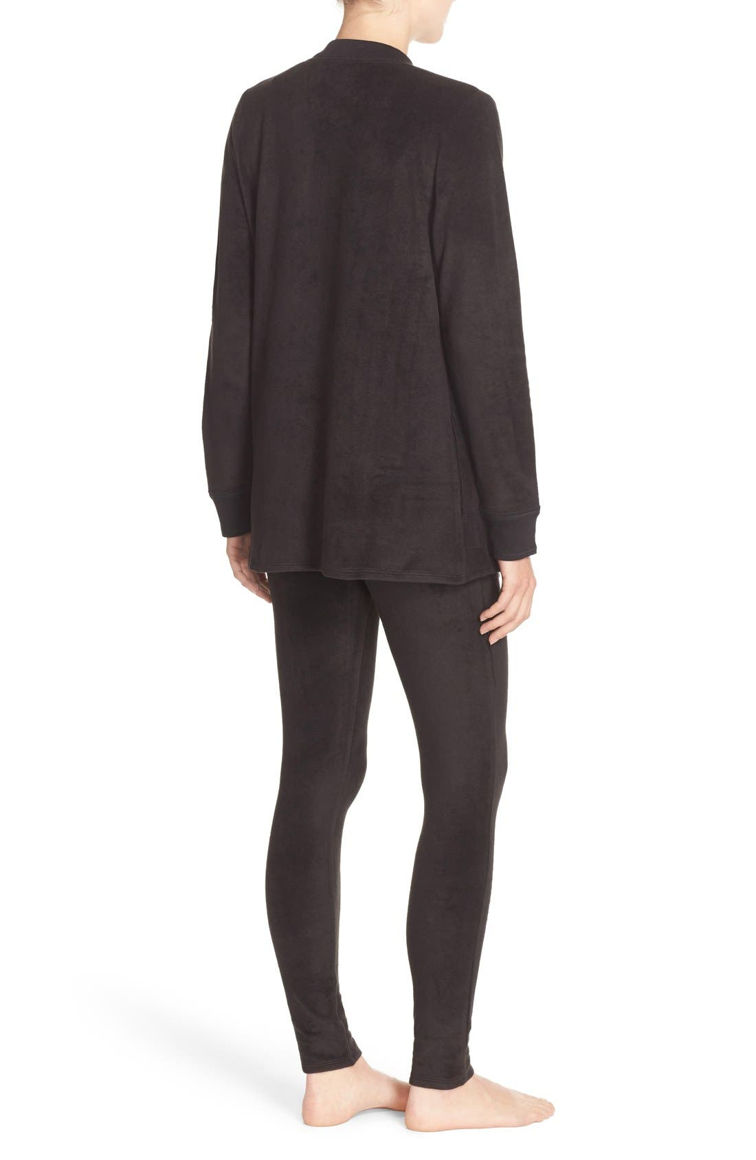 Alternate Image 2  - DKNY Open Cardigan & Lounge Leggings