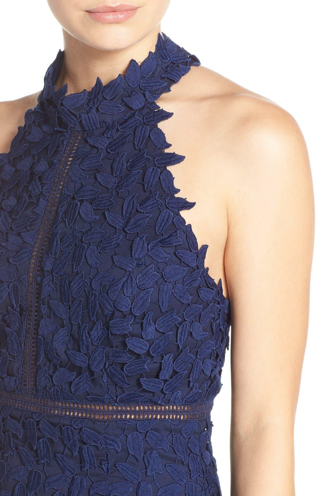 Gemma Halter Lace Sheath Dress,                             Alternate thumbnail 4, color,                             Blue Ink