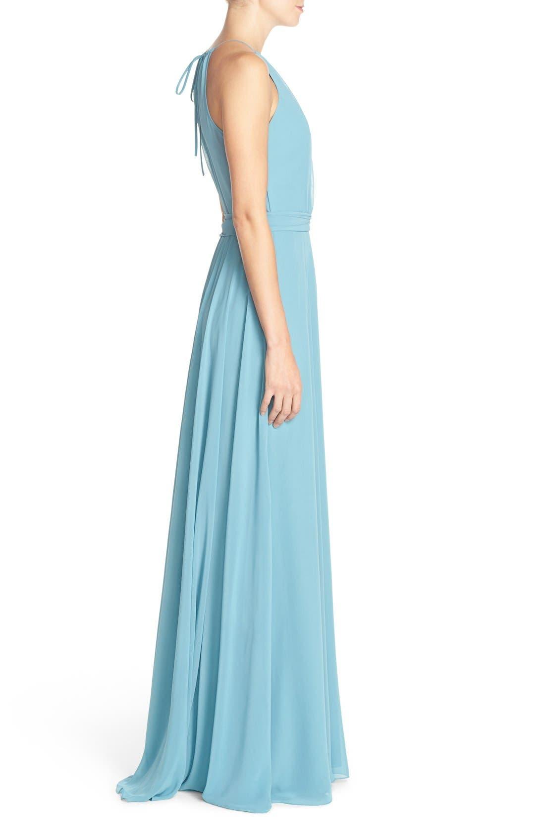 'Delaney' Belted A-Line Chiffon Halter Dress,                             Alternate thumbnail 3, color,                             Teal