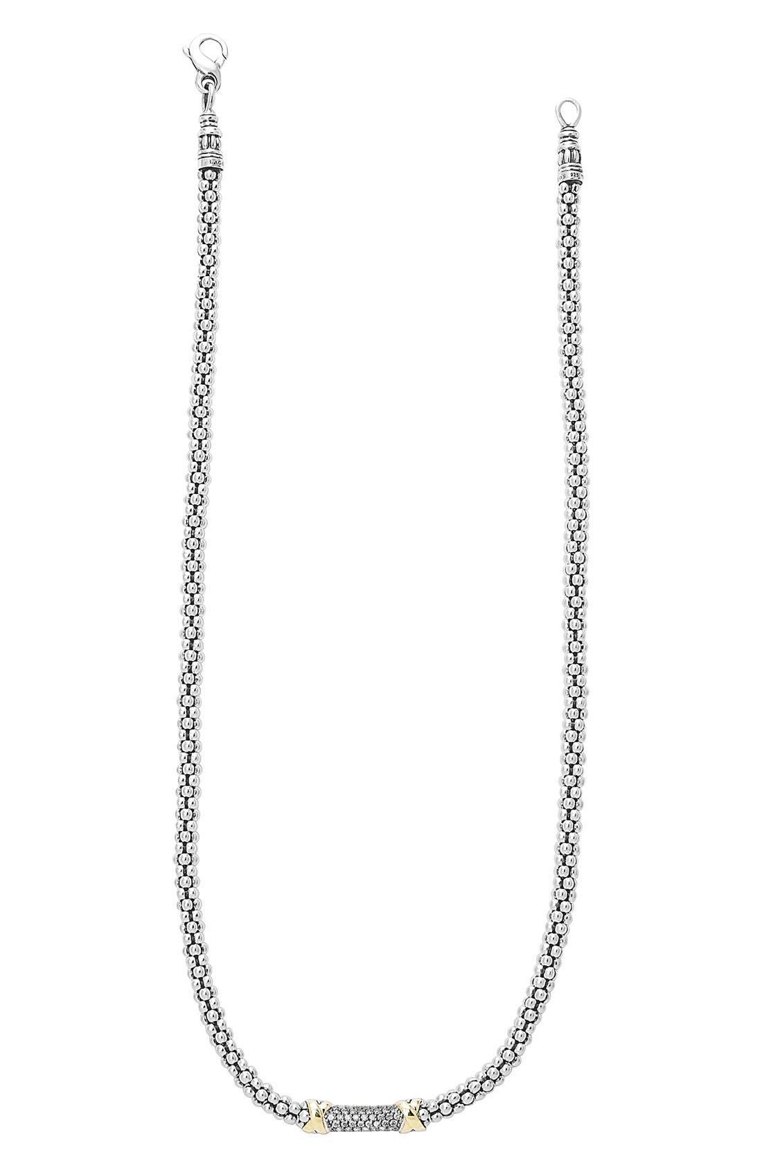 'Diamond Lux' Diamond Rope Necklace,                         Main,                         color, Silver/ Gold