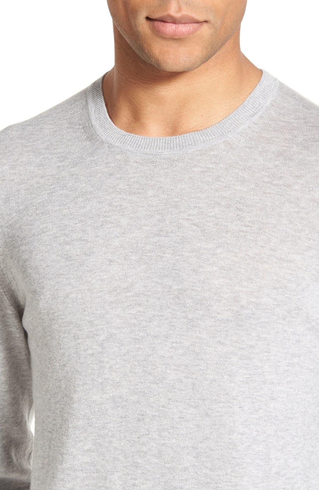 Brit Richmond Cotton & Cashmere Sweater,                             Alternate thumbnail 4, color,                             Pale Grey Melange