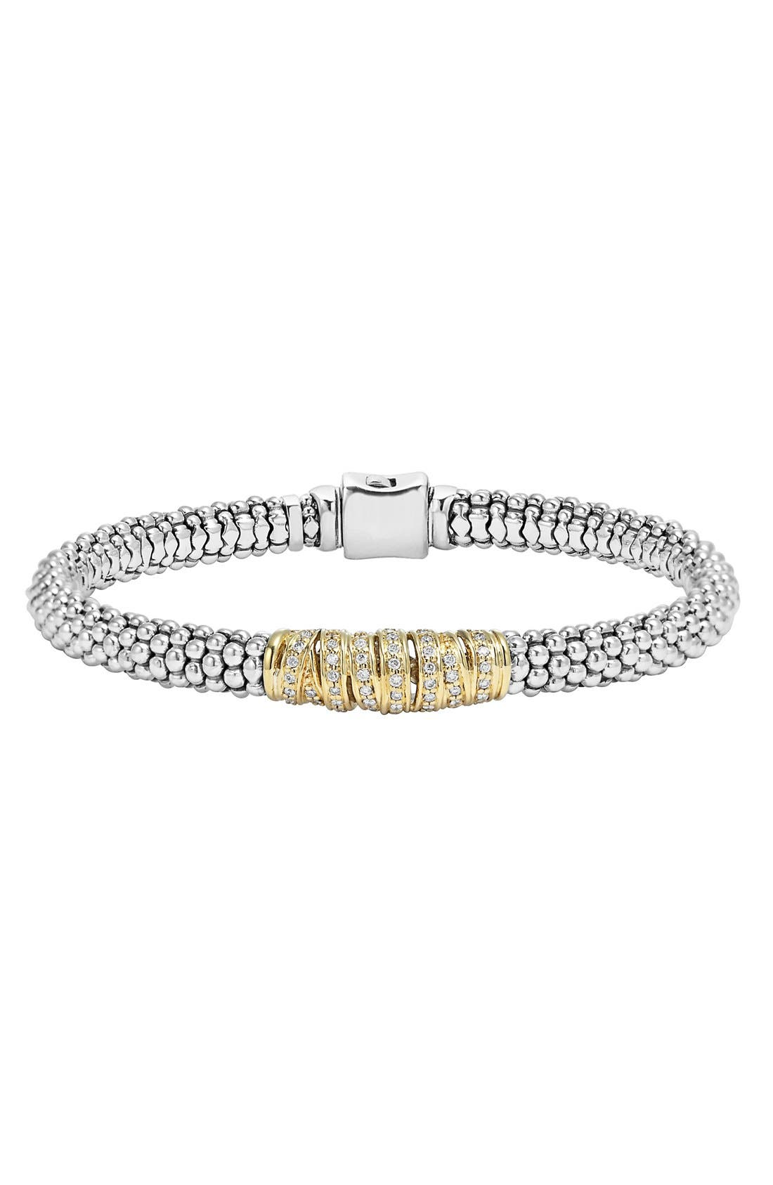 'Diamonds & Caviar' Diamond Bracelet,                             Main thumbnail 1, color,                             Sterling Silver/ Gold