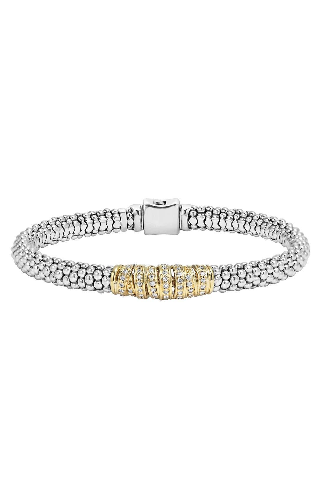 'Diamonds & Caviar' Diamond Bracelet,                         Main,                         color, Sterling Silver/ Gold