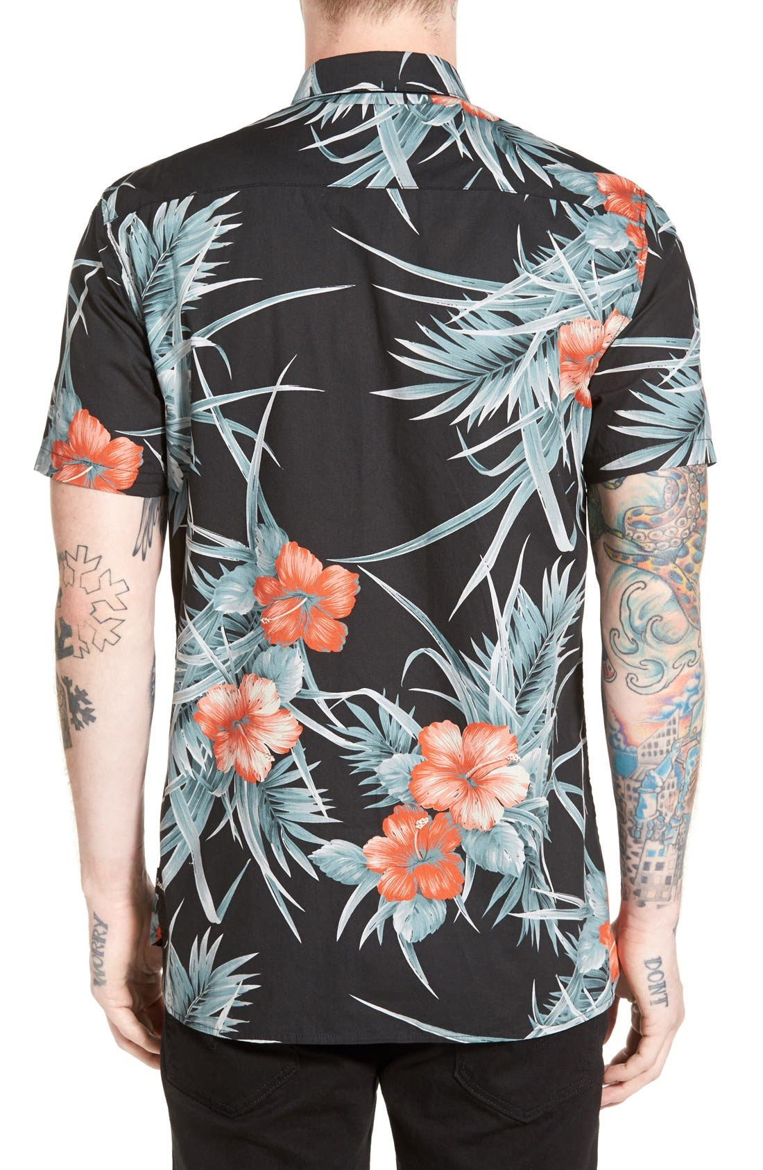 Alternate Image 2  - Barney Cools Trim Fit Floral Print Woven Shirt