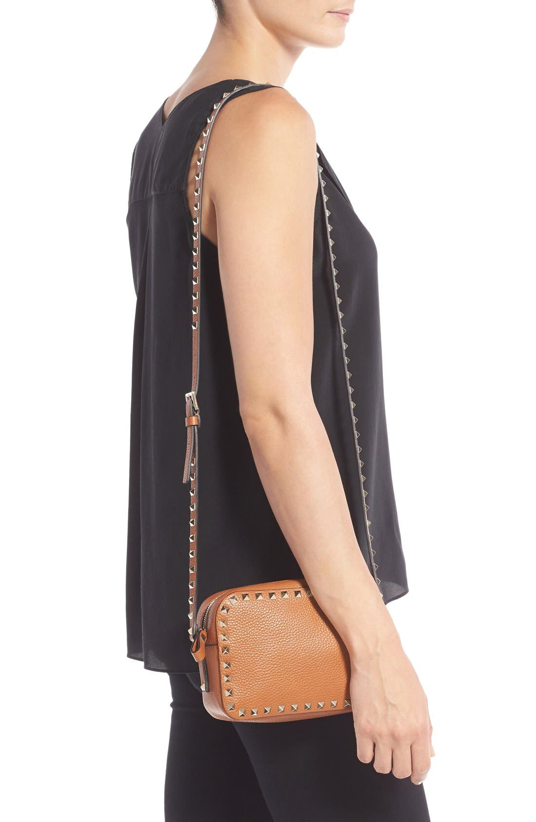 Alternate Image 2  - Valentino 'Rockstud - Alce' Calfskin Leather Camera Crossbody Bag
