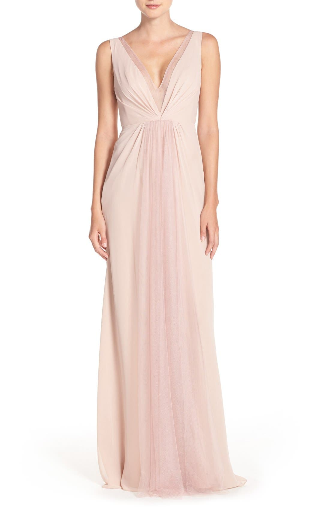 Deep V-Neck Chiffon & Tulle Gown,                         Main,                         color, Shell