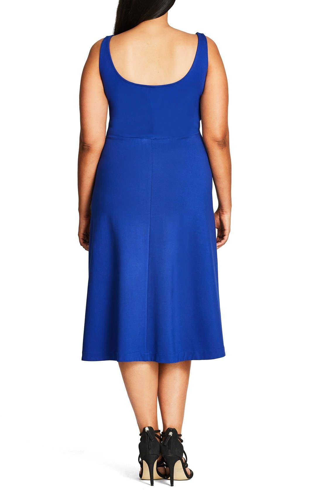 Classic Longline Scoop Neck Midi Dress,                             Alternate thumbnail 2, color,                             French Blue