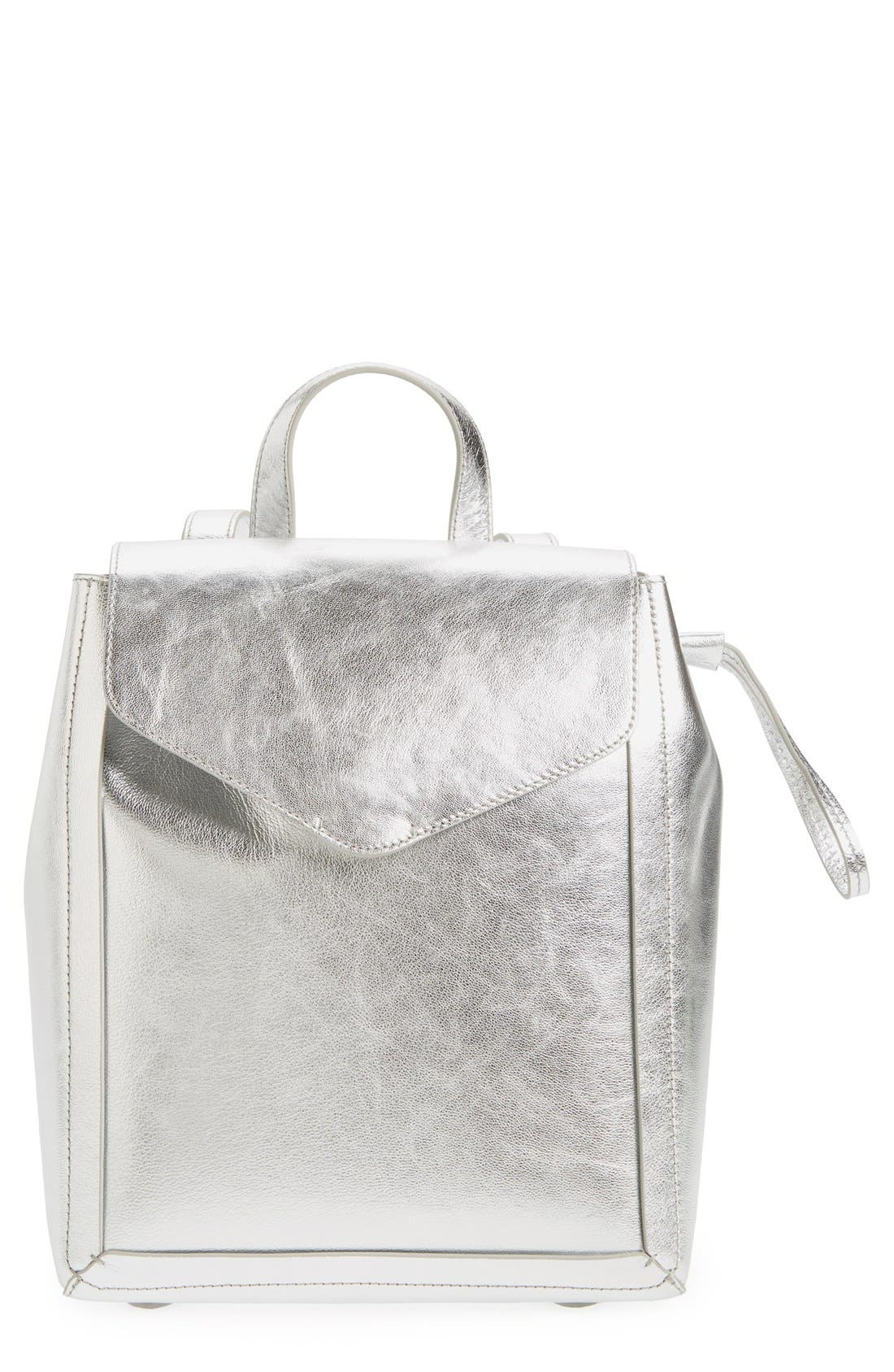 Alternate Image 1 Selected - Loeffler Randall Mini Metallic Leather Backpack