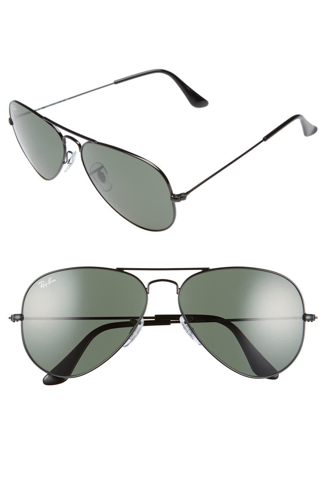 Original Aviator 58mm Sunglasses,                             Main thumbnail 1, color,                             Black/ Grey Green