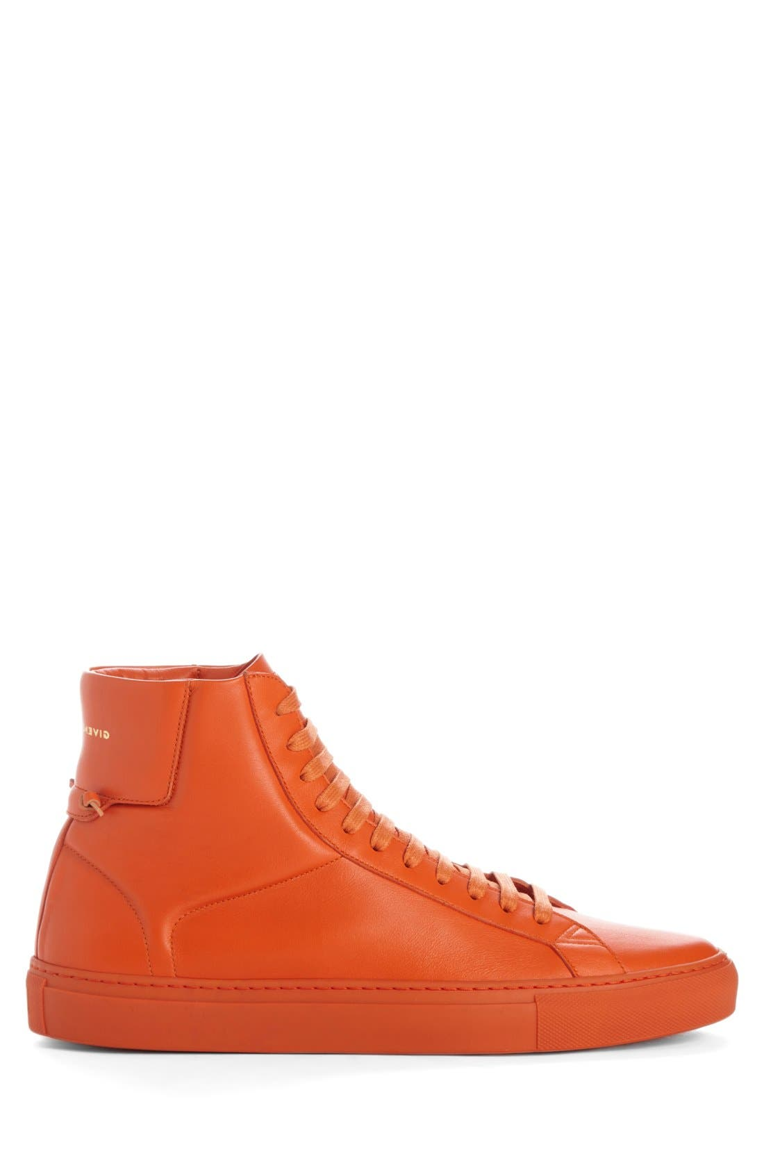 'Urban Knots' High Top Sneaker,                             Alternate thumbnail 5, color,                             Orange Leather
