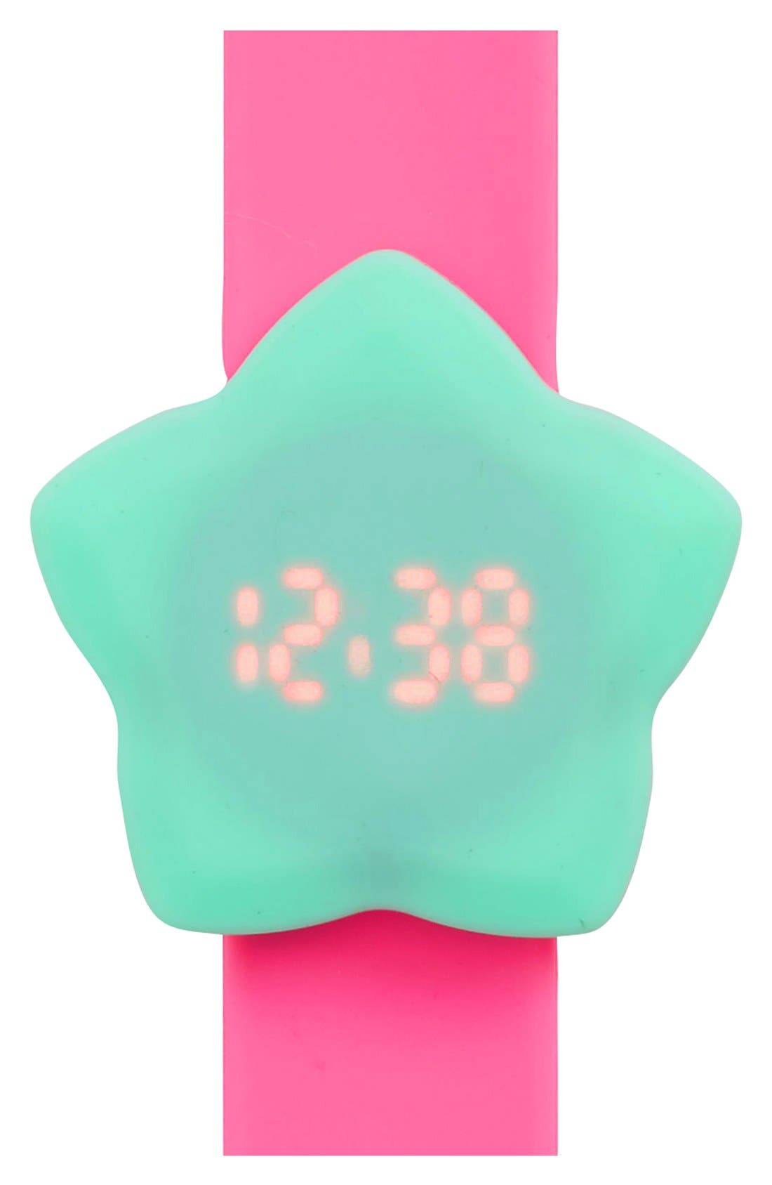 Star LED Slap Watch,                             Main thumbnail 1, color,                             Mint/ Pink