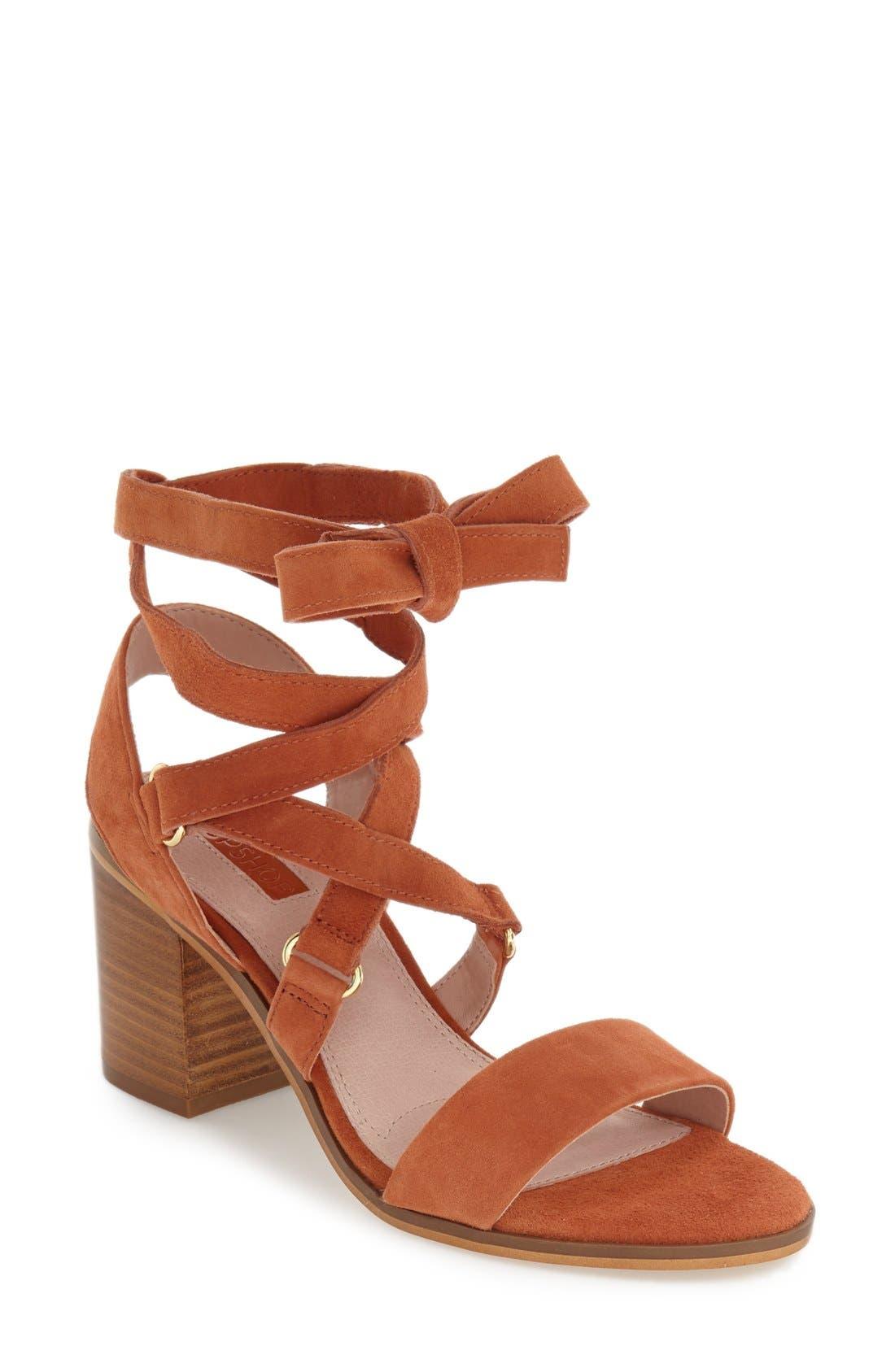 'Nadra' Lace-Up Sandal,                             Main thumbnail 1, color,                             Orange Suede