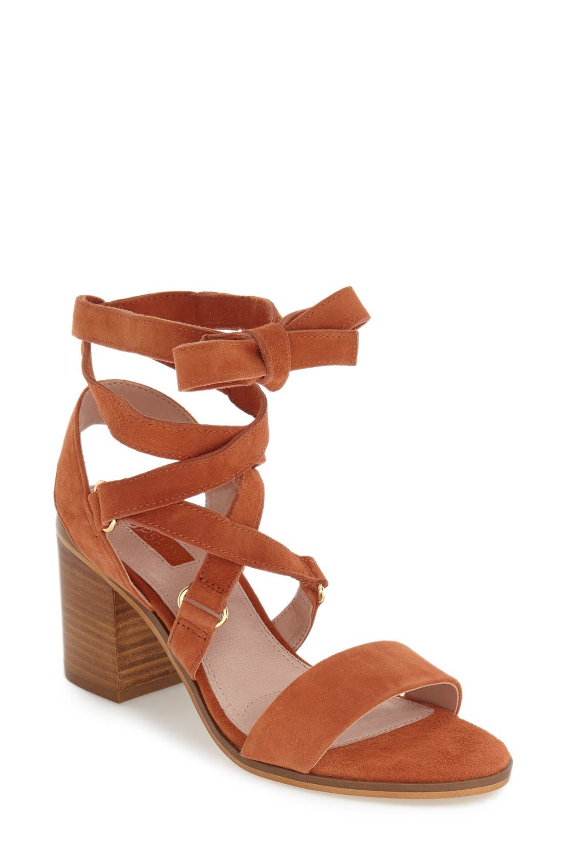 'Nadra' Lace-Up Sandal,                         Main,                         color, Orange Suede