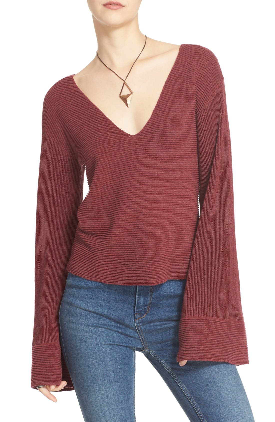 'Starman' Rib Knit Pullover,                             Main thumbnail 1, color,                             Wine