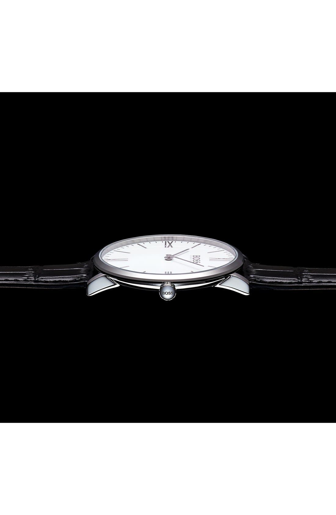 Alternate Image 4  - BOSS Ultra Slim Leather Strap Watch, 40mm