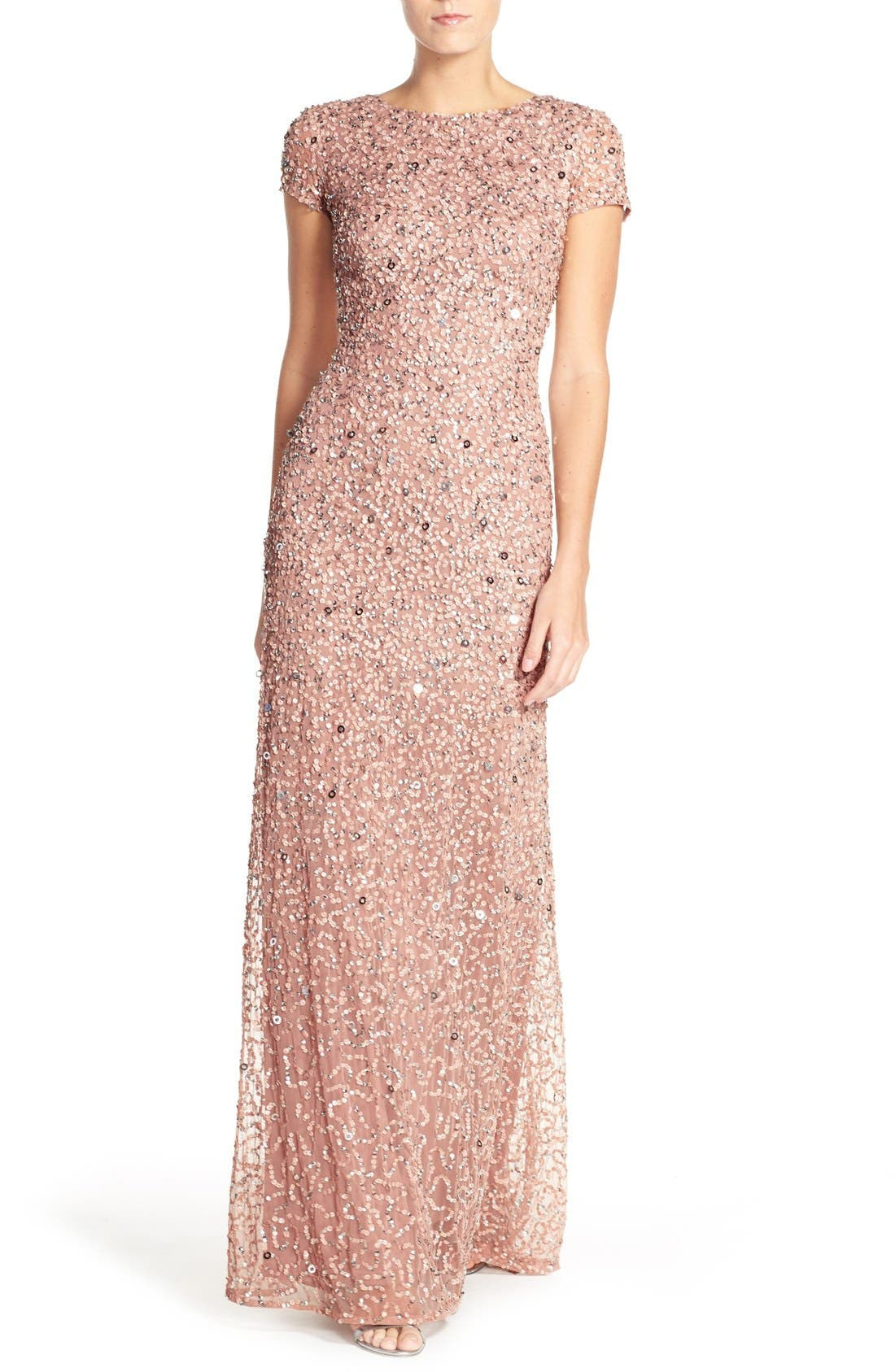 Adrianna Papell Short Sleeve Sequin Mesh Gown (Regular & Petite)