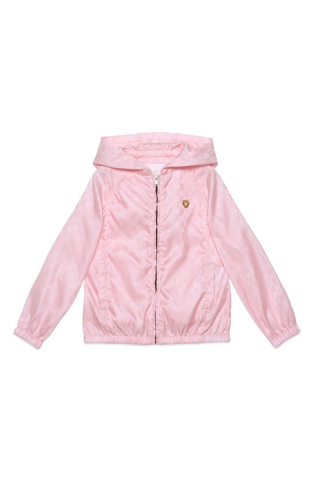 Alternate Image 1 Selected - Gucci Logo Jacquard Nylon Jacket (Little Girls & Big Girls)
