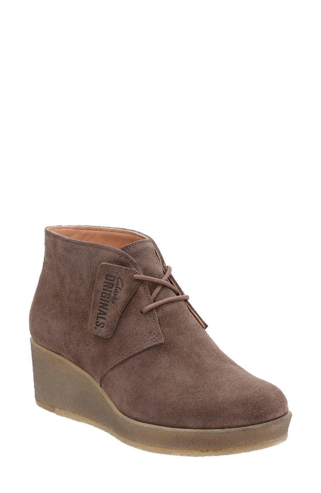 Originals 'Athie Terra' Wedge Boot,                         Main,                         color, Dark Taupe Suede