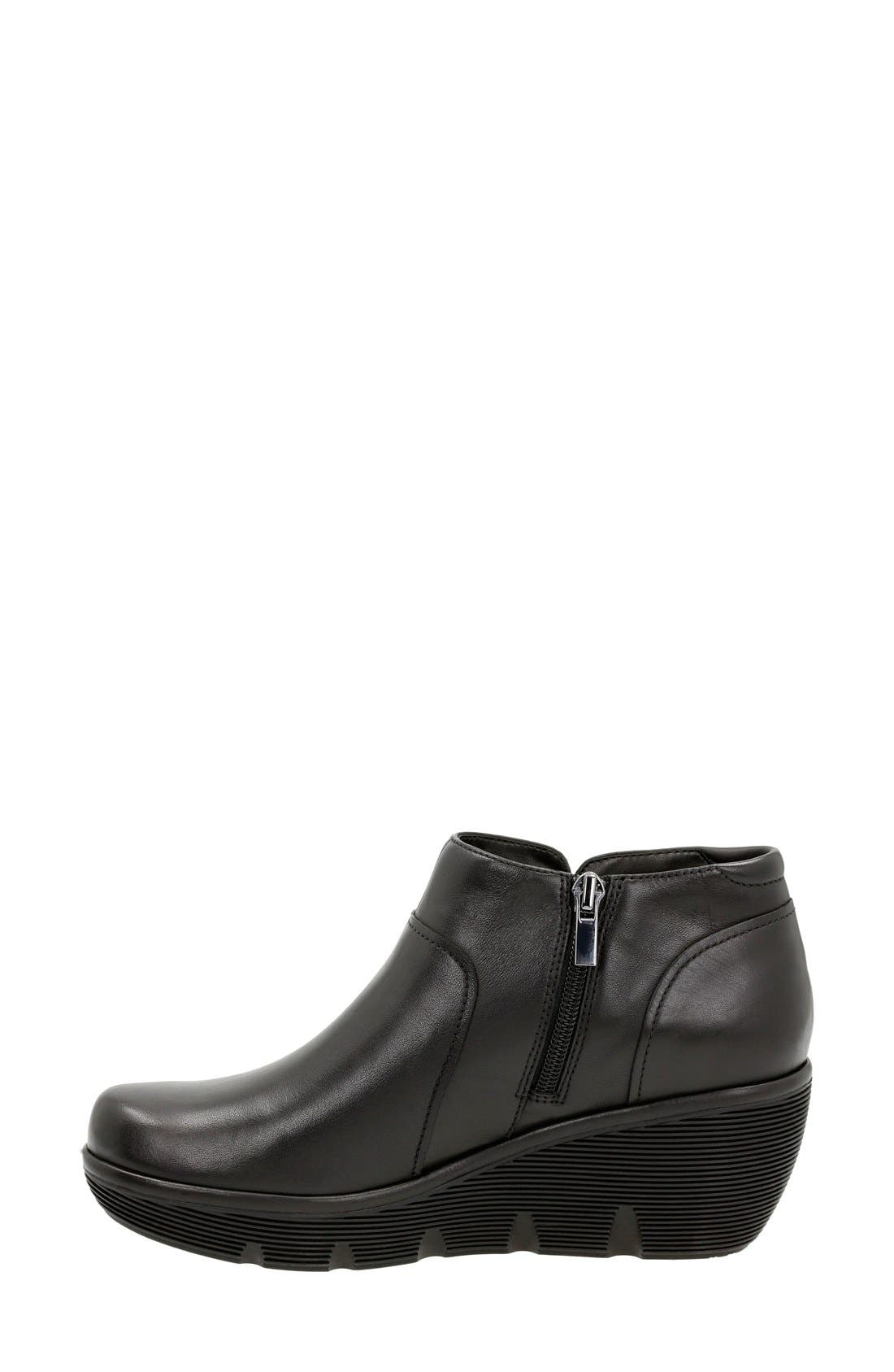 'Clarene Sun' Wedge Boot,                             Alternate thumbnail 2, color,                             Black Leather