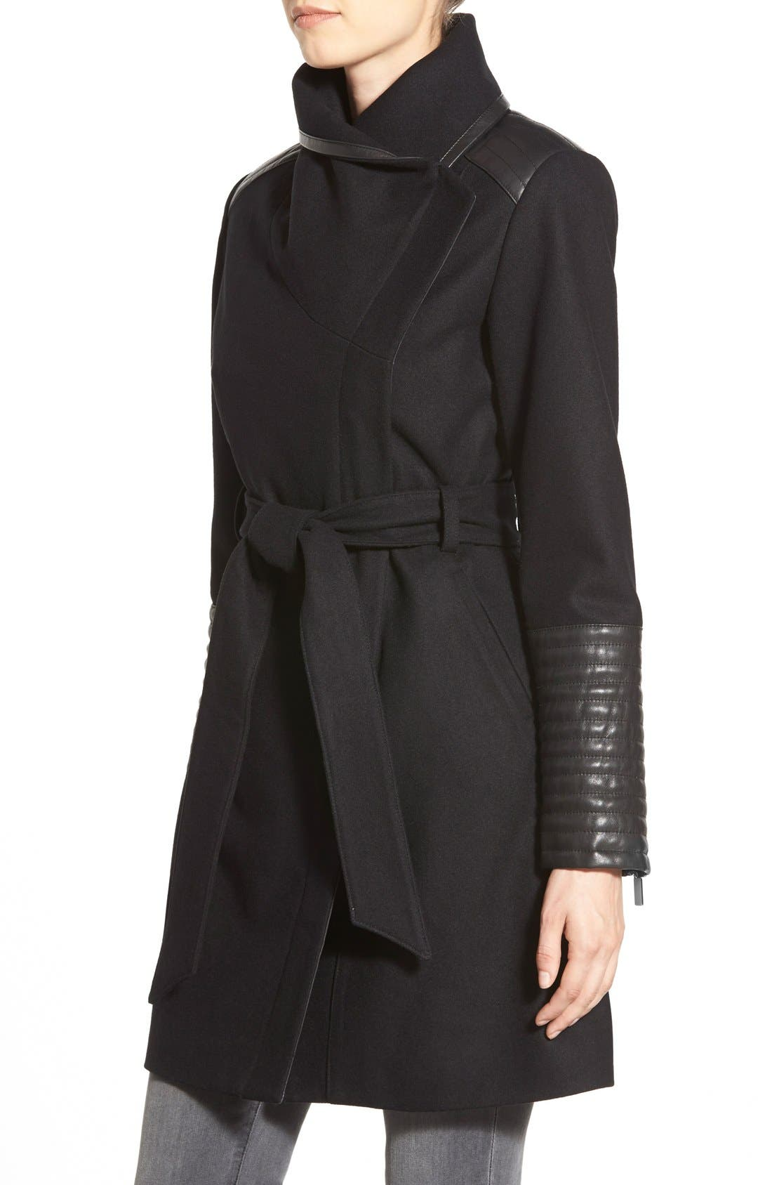 Alternate Image 3  - Belle Badgley Mischka 'Lorian' Faux Leather Trim Belted Asymmetrical Wool Blend Coat