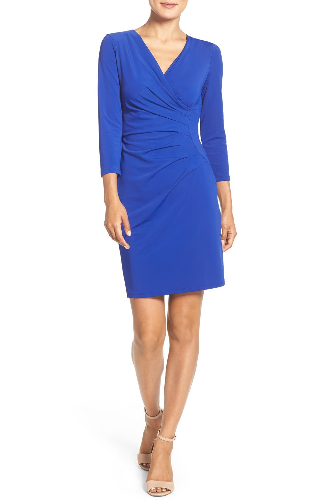 Alternate Image 4  - Adrianna Papell Stretch Faux Wrap Dress (Regular & Petite)