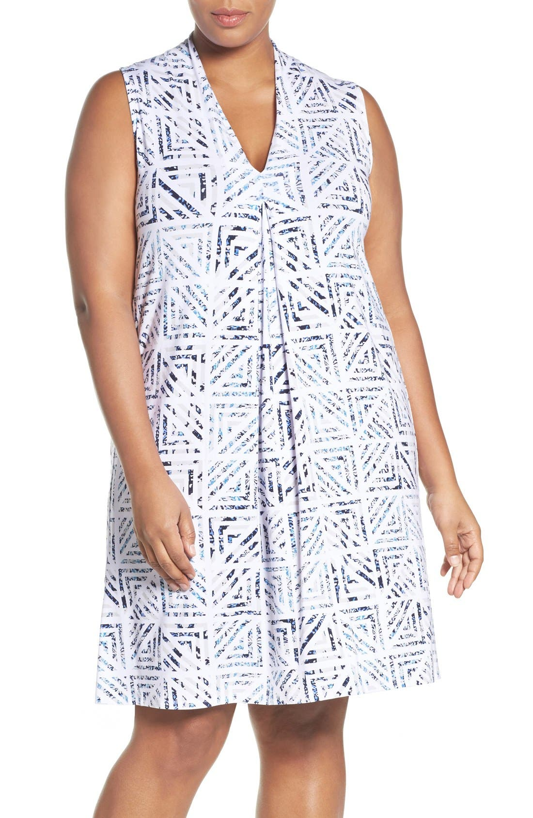 'Tara' Print Jersey A-Line Dress,                             Main thumbnail 1, color,                             Water Geo