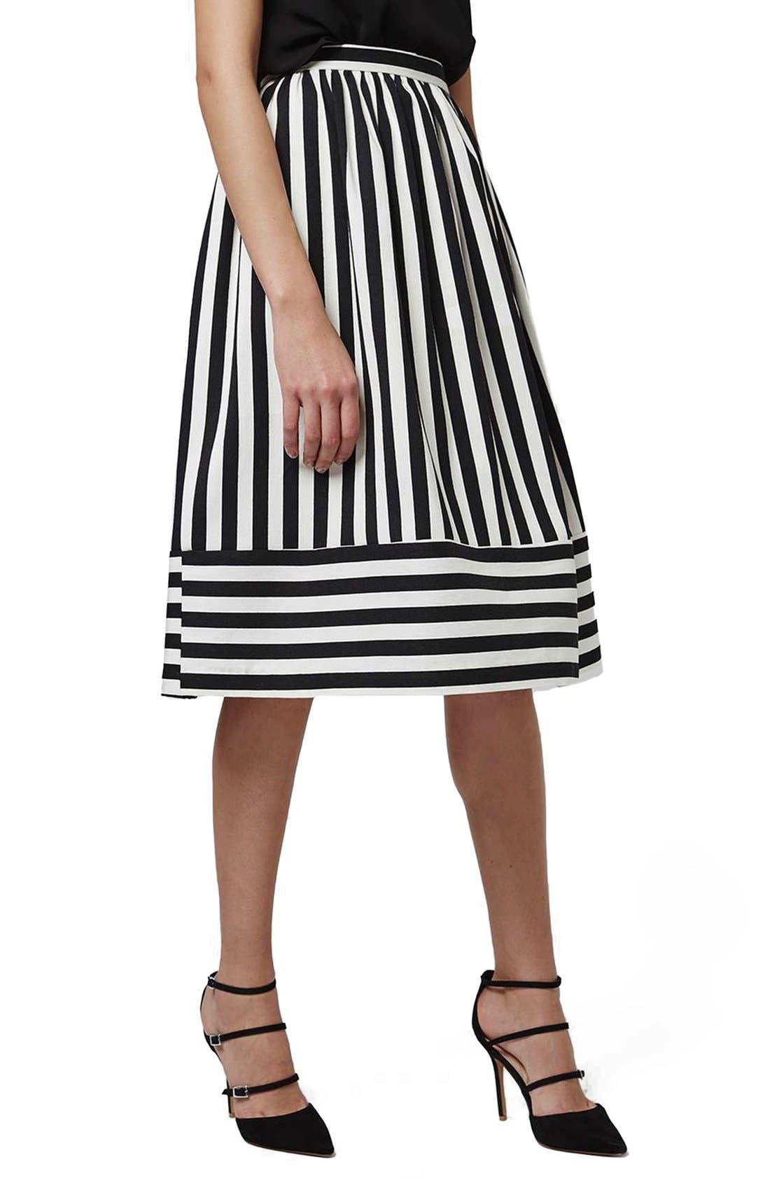 Main Image - Topshop Horizontal Hem Stripe A-Line Midi Skirt