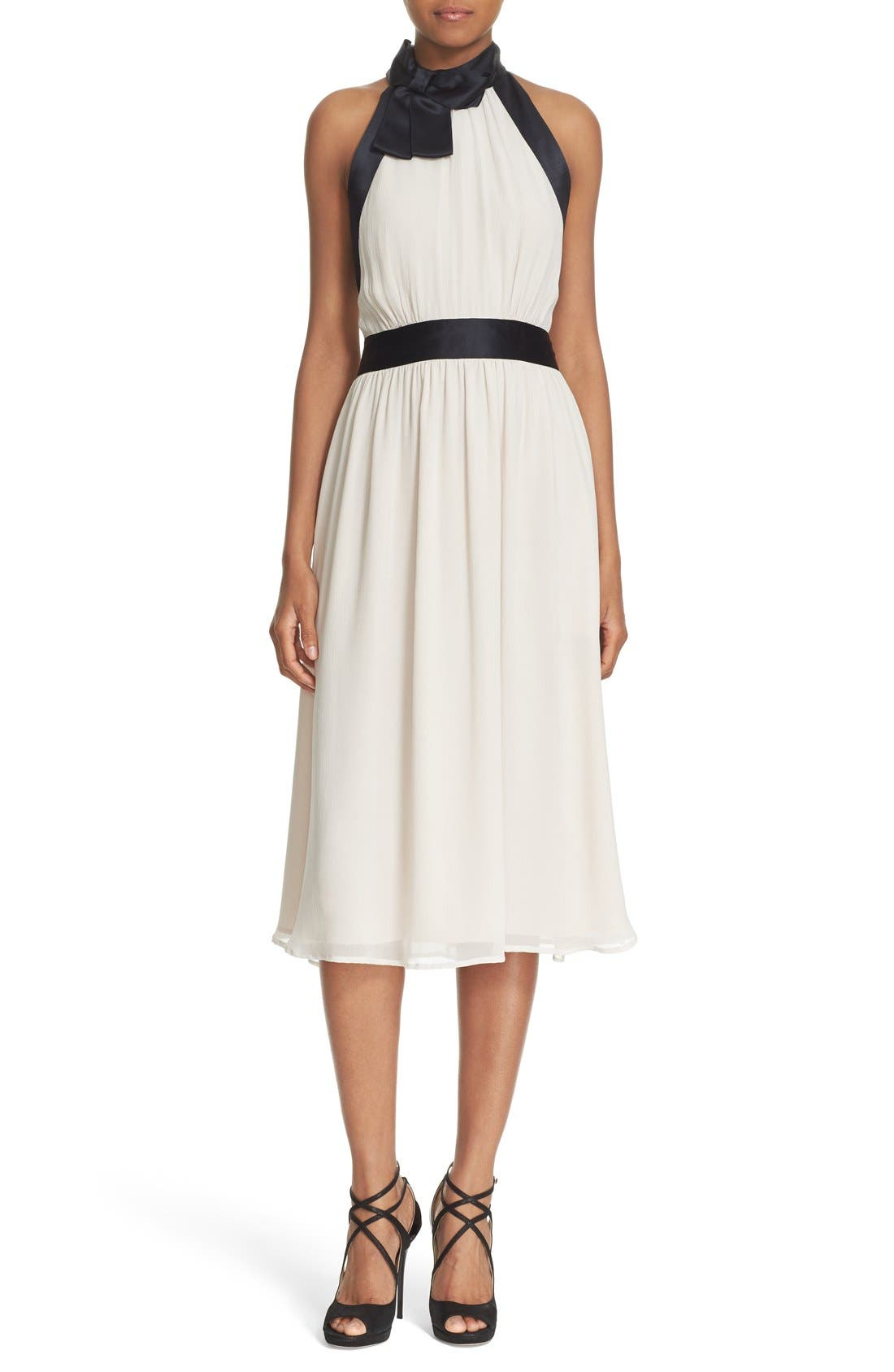 Main Image - kate spade new york bow neck silk chiffon dress