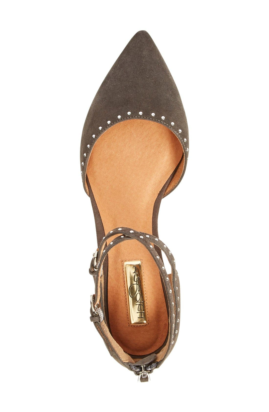 'Bristal' Ankle Strap Pointy Toe Flat,                             Alternate thumbnail 3, color,                             Charcoal Suede