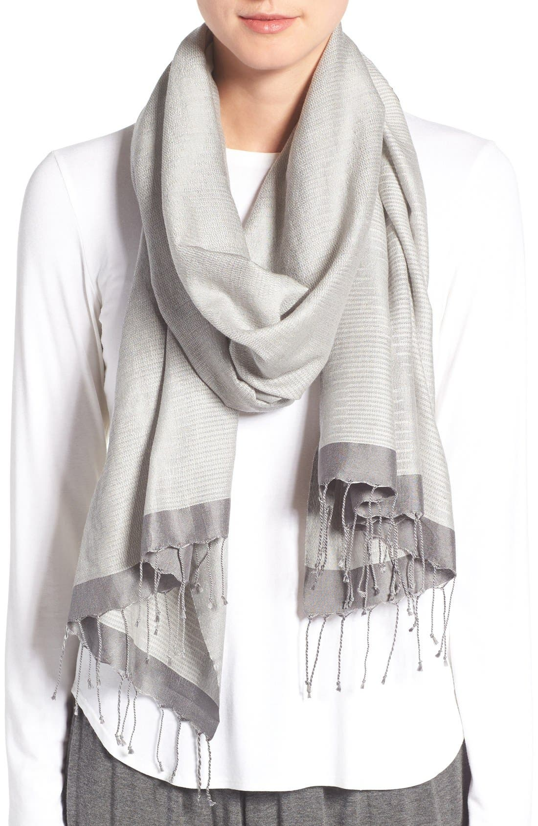 Main Image - Eileen Fisher 'Pathways' Hand Loomed Wool & Silk Scarf