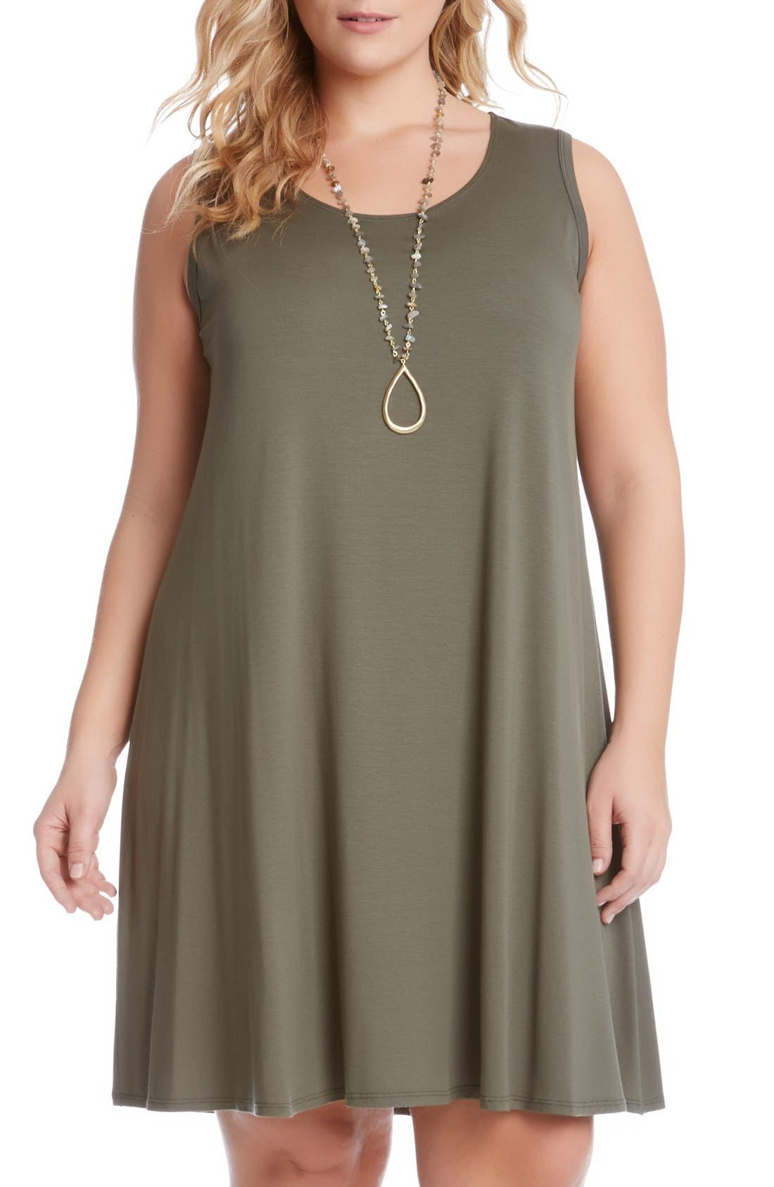 'Maggie' Sleeveless Trapeze Dress,                         Main,                         color, Olive