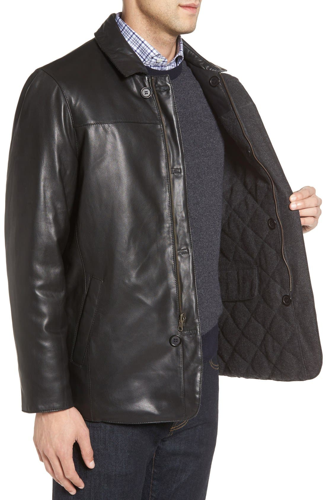 Alternate Image 3  - Missani Le Collezioni Reversible Lambskin Leather & Quilted Wool Jacket