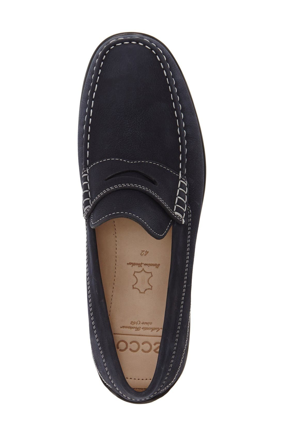 'Classic Moc 2.0' Penny Loafer,                             Alternate thumbnail 3, color,                             Navy Leather