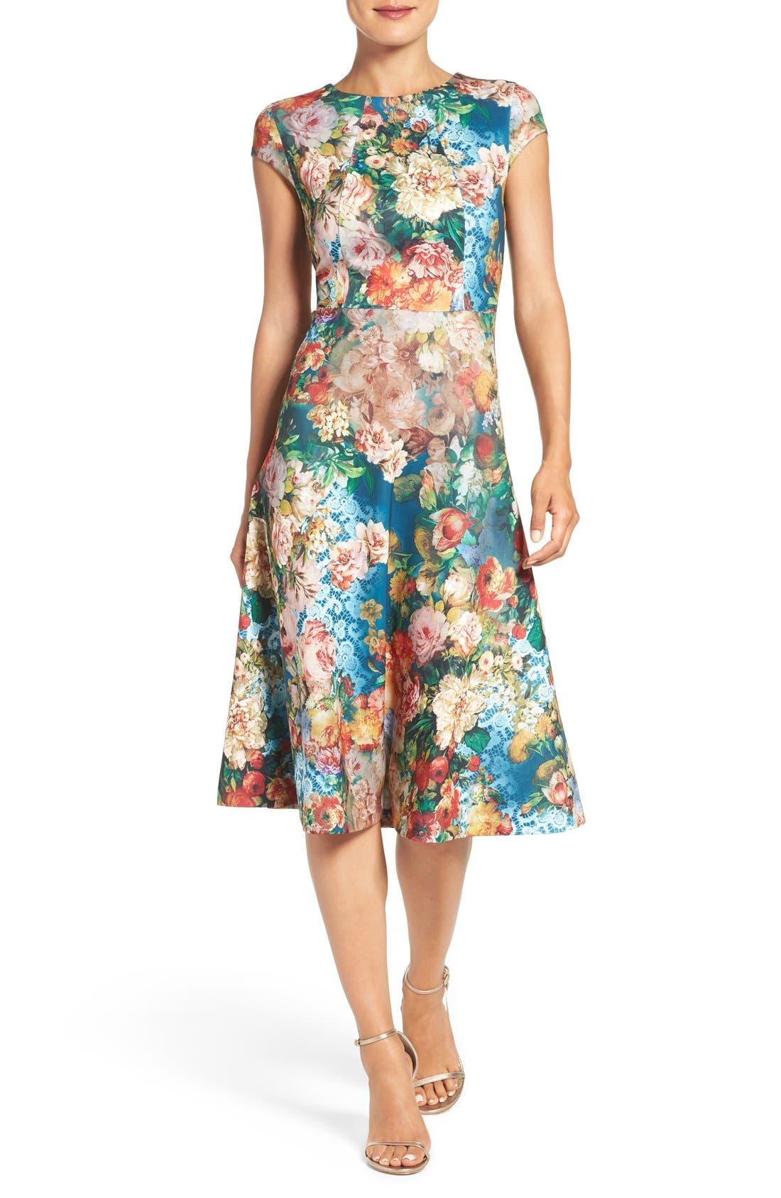 Main Image - ECI Floral Scuba Fit & Flare Midi Dress