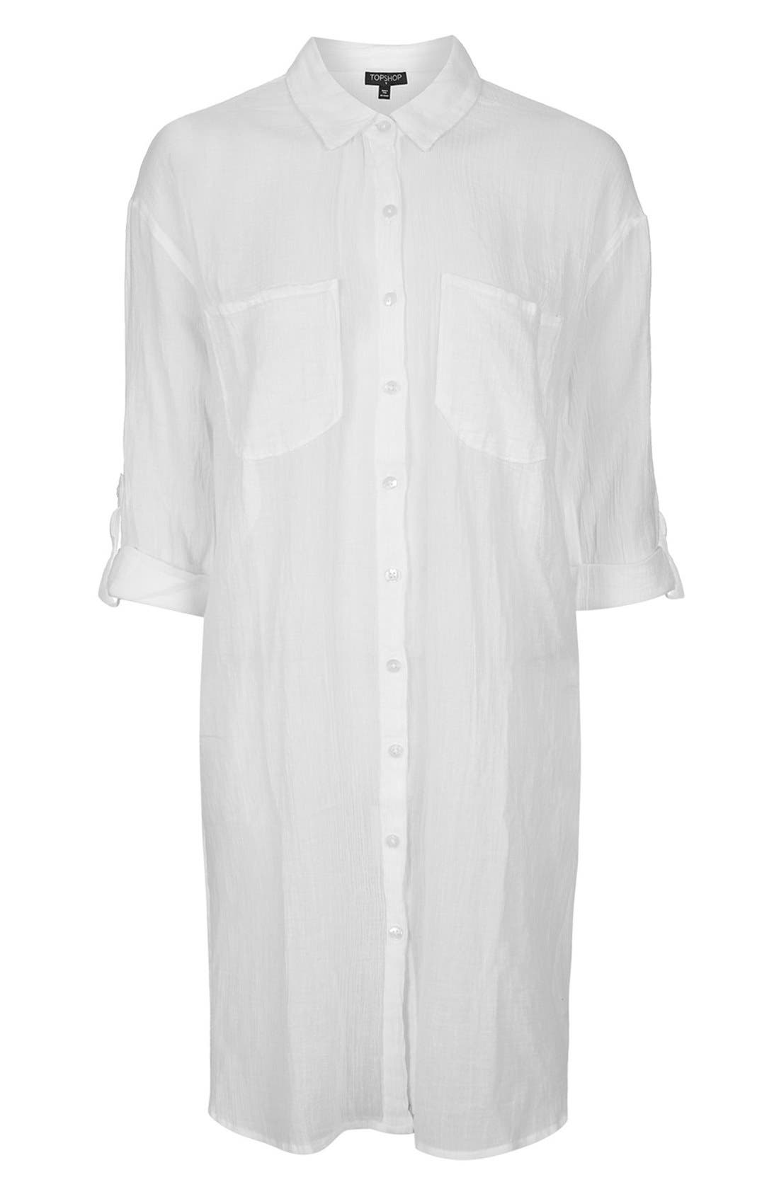 Alternate Image 1 Selected - Topshop Lattice Side Cover-Up Shirt