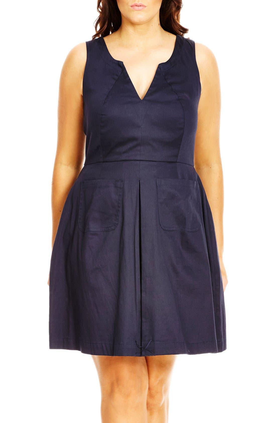 City Chic 'Mod Madness' Notch Neck Fit & Flare Dress (Plus Size)