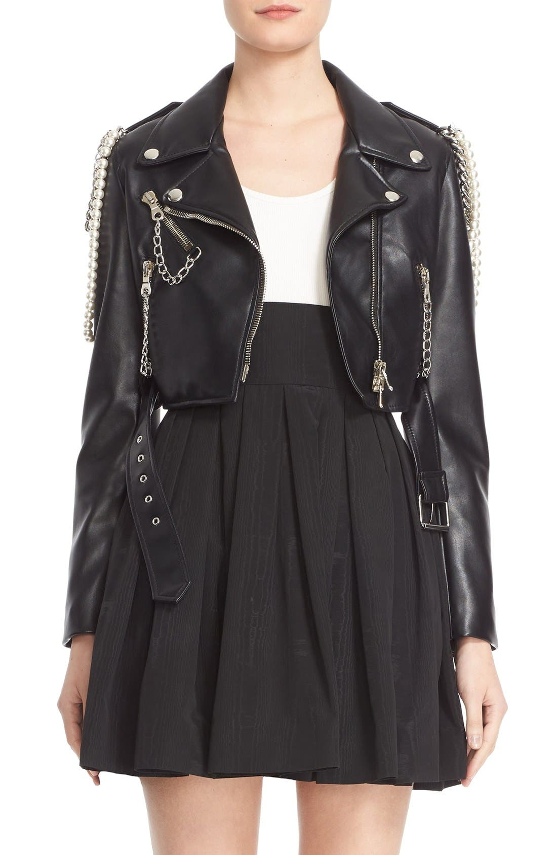 Alternate Image 1 Selected - Moschino Chain & Imitation Pearl Embellished Faux Leather Jacket