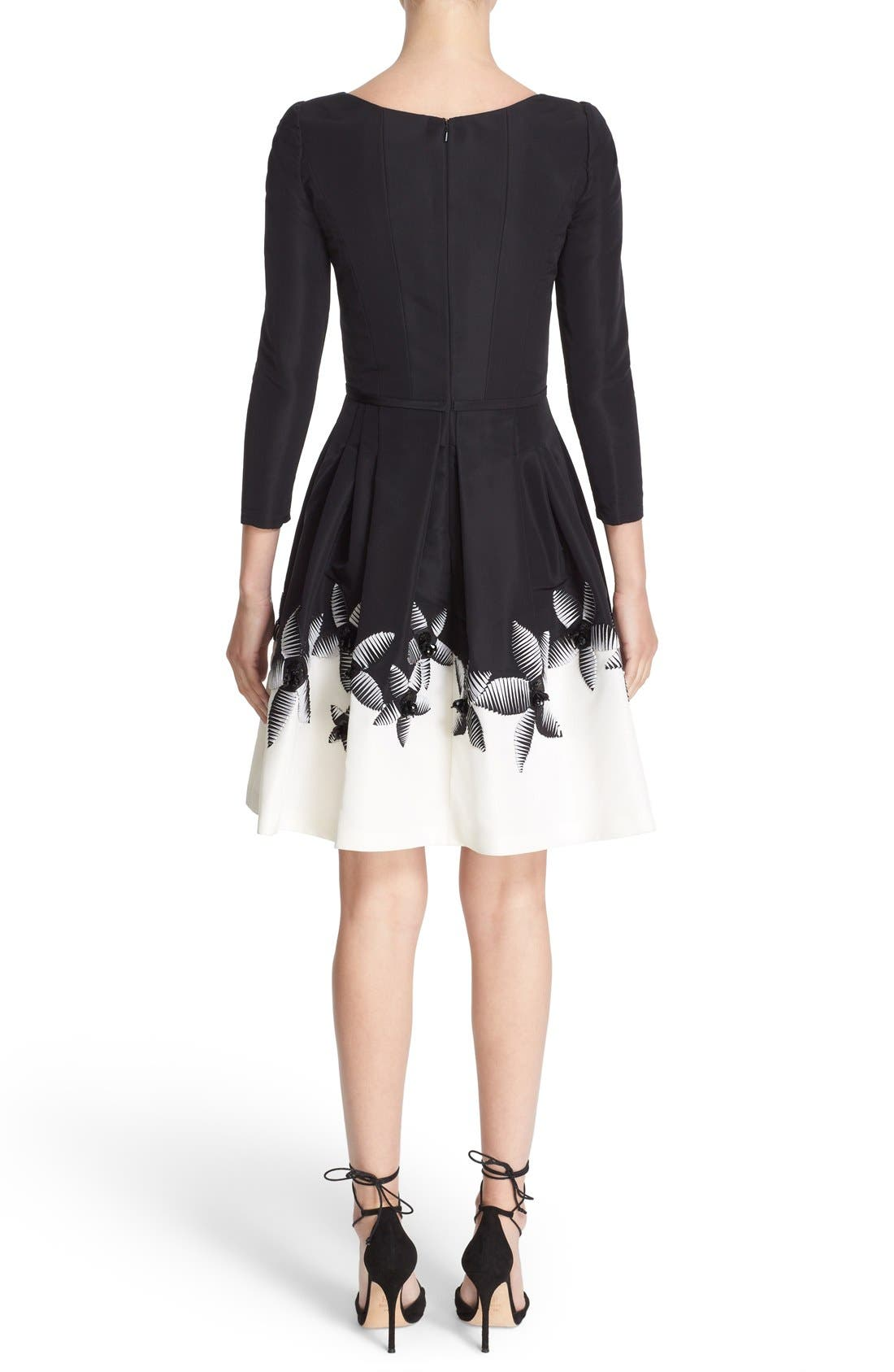 Alternate Image 2  - Carolina Herrera Embellished Two-Tone Scoop Neck Faille Fit & Flare Dress
